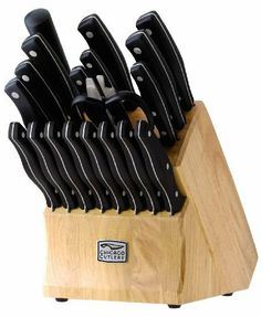 Chicago Cutlery Metropolitan 20pc Block Set by World Kitchen (PA). $87.01. High-carbon stainless steel creates a stronger, harder blade resisting stains, rust and pitting.. Professional high-carbon stainless steel blades with black polymer handles.. Full Lifetime Guarantee. Triple compression stainless steel rivets secure the handles to the blade for increased safety and stability. Exclusive taper grind edge technology provides optimum sharpness for precise cutti...