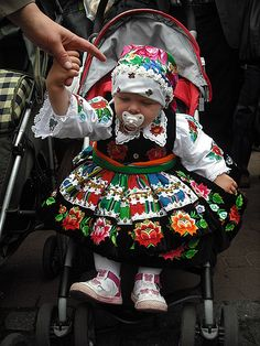 Adorable Polish Baby Girl dressed in Traditional Polish Folk Costume