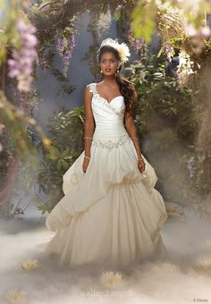 Tiana {from The Princess and the Frog}: The regal, one-shoulder taffeta gown for Disney's newest princess, Tiana, reflects her independent spirit with an asymmetric bodice and ruched skirt.