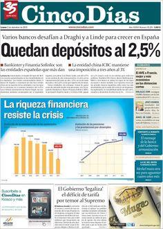 Los Titulares y Portadas de Noticias Destacadas Españolas del 2 de Diciembre de 2013 del Diario Cinco Días ¿Que le pareció esta Portada de este Diario Español?