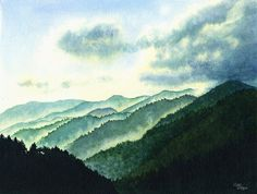 Smoky Moutains Art Watercolor Painting Print by Cathy Hillegas, 16x22 print, watercolor landscape, misty mountains art, teal green by CathyHillegas on Etsy