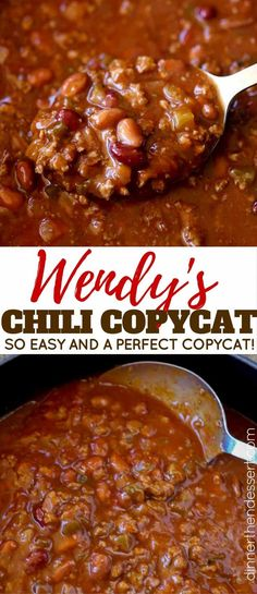This is a decent chili, but in my opinion, nowhere near a perfect copycat of Wendy's chili. That's not to say Wendy's chili is the best, just that this is NOT Wendy's chili.not a great chili but not horrible either. Crock Pot Recipes, Chilli Recipes, Beef Recipes, Mexican Food Recipes, Soup Recipes, Dinner Recipes, Cooking Recipes, Chilis Copycat Recipes, Chili Recipe Crockpot Best