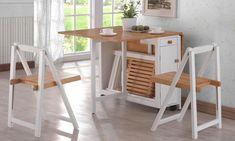 table en bois à plateaux rabattables avec rangement et chaises pliantes