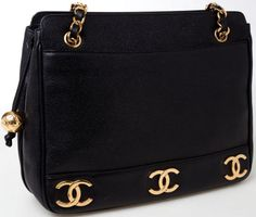 d70e0609bdc2 Chanel Black Caviar Leather Gold CC Shoulder Bag Chanel Black