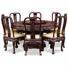 60in queen ann pearl inlay motif rosewood round dining table with 8 chairs cherry