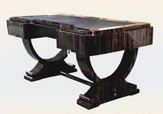 Stunning 74 INCHES Golden Ebony Art Deco style Desk