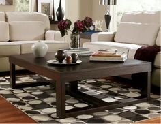 Coffee Table Dimension Guide | Ashley HomeStore Oversized Coffee Table, Coffee And End Tables, Sofa End Tables, Occasional Tables, Dark Wood Coffee Table, Large Square Coffee Table, Living Room Furniture, Home Furniture, Furniture Outlet