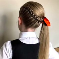Braided ponytail tutorial the most adorable ponytail braid you ll ever see good looking braid ideas hairs hairstyle Little Girl Hairstyles, Pretty Hairstyles, Hairstyle Ideas, Bridal Hairstyle, Easy Hairstyle, Hairstyles Haircuts, Braided Hairstyles, Cabelo Ombre Hair, Ponytail Tutorial