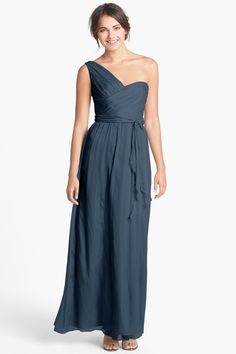 Ruched One-Shoulder Chiffon Gown