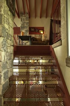 Metal stair treaders I designed for a home that I also designed in South Texas. I wanted light to go through the stairs to the entry below. Porch Stairs, Metal Stairs, South Texas, Staircases, Second Floor, Porches, My Design, Rooms, Interiors
