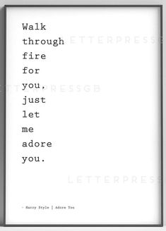 Harry Styles / Adore You Lyrics quote / poster / print / song lyrics poster / home decor / Walk thro Song Lyrics Wallpaper, Song Lyrics Art, Song Lyric Quotes, Me Too Lyrics, Yours Lyrics, Harry Styles Poster, Harry Styles Songs, Country Song Lyrics, Country Music Quotes