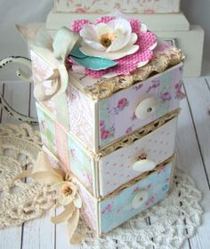 Beautiful drawers by using Sizzix Candy Box Die!
