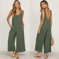 Rompers Summer Women Casual Loose Linen Cotton Jumpsuit New Sleeveless Backless Pocket Playsuit Trousers Overalls, Army Green / XL Backless Playsuit, Bodycon Jumpsuit, Casual Jumpsuit, Cotton Jumpsuit, Plus Size Jumpsuit, Mode Chic, Summer Romper, Style Casual, Romper Pants