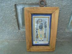 A Miniature Original Antique Painting of Shrinathji in a Wooden frame from Rajasthan, India. Art. Original. Watercolour. Krishna. Love. by Lallibhai on Etsy