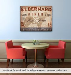 St Bernard Saint Bernard  kitchen diner artwork on gallery wrapped canvas by Stephen Fowler Pick Your Breed