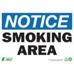 "United Technology Trade Corp   Zing Green Products 1135A Eco 7""H x 10""W ""Notice Smoking Area"" Recycled Aluminum Safety Sign Price: 13.95 United Technology Trade Corp  Eco 7""H x 10""W ""Notice Smoking Area"" Recycled Aluminum Safety Sign Protect people and the environment with Eco Safety Sign ""Notice Smoking Area"" and other Zing Green Safety Signs that inform of Danger Notice and Caution areas. Sign is made of recycled Aluminum with 4 mounting holes. Recycled material supports LEED accredi"