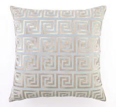 Greek Key Embroidered Velvet Pillow - Light Blue