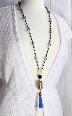 Bohemian Jewelry Blue Tassel Necklace Small by LeilaNicoleDesigns