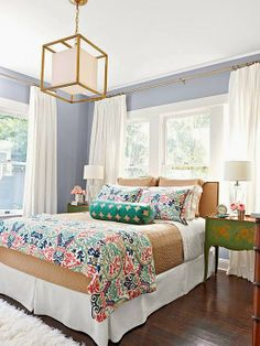 Like how fresh this color is in this bedroom with white drapes. ~Deborah belle maison: The Well Styled Bed