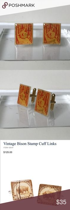 Brooks Brothers (like) Stamp Cuff Links The vintage stamp cuff links are for true gentlemen. Comparison like Brook Brothers are selling them for $125. These Brasil pattern and in great condition sure to get noticed. Get them at a steal.! There isn't a 📦. Brooks Brothers Accessories Cuff Links