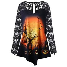 542d3d86678 Plus Size Halloween Pumpkin Lace Insert Tunic T-shirt - Black halloween  halloween costumes halloween decorations halloween fun halloween wholesale  fashion ...