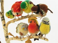 Steiff pom pom woollies bird tree. So cute! We want to do something like this in our museum too.
