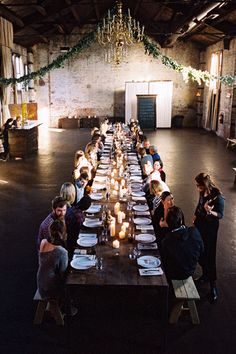 candles, long tables and silver dollar eucalyptus garlands. by Leo Patrone. brooklyn kinfolk dinner.
