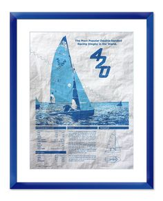 Makes me miss college racing!  420 Sailboat Screen Print Poster Printed on Used Sail Cloth 18x24