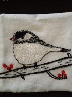beautifully stitched chickadee