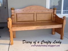 Oh my goodness -- this bench is made from an old headboard and footboard. Amazing!