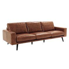 Canapé 4 places en cuir marron ... - Clark