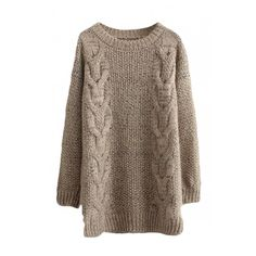 Round Neck Long Sleeve Cable Longline Sweater (1.125 RUB) ❤ liked on Polyvore featuring tops, sweaters, dresses, chunky cable knit sweater, long line sweater, brown sweater, round neck top and longline tops