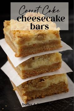 Can't decide between carrot cake or cheesecake, get the best of both worlds with carrot cake cheesecake bars. The ultimate springtime dessert in perfect bite size squares. Great for Easter or Mother's day brunch. Carrot Cake Bars, Easy Carrot Cake, Carrot Cake Cheesecake, Carrot Cake Cupcakes, Cheesecake Bars, Banana Granola, Baked Peach, Easter Recipes, Bite Size