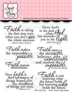 Sweet 'n Sassy Stamps - Faith Clear Stamp Set, $11.95 (http://www.sweetnsassystamps.com/faith-clear-stamp-set/)