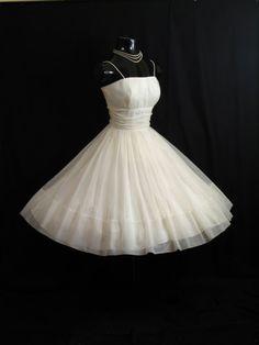 Vintage 1950's 50s White Ruched Chiffon Organza by VintageVortex, $349.99