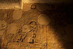 Akhenaten Artifacts   Relief of royal family, Akhenaten, Nefertiti and daughters, tomb of ...