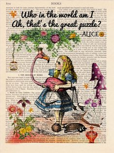 Alice In Wonderland Vintage Illustration Upcycled Page Print Decorative Art Book. Alice In Wonderland Vintage Illustration Upcycled Page Print Decorative Art Book Page Print Wall dec Alice In Wonderland Artwork, Alice In Wonderland Vintage, Alice In Wonderland Illustrations, Alice And Wonderland Quotes, Wonderland Party, Alice Quotes, Disney Quotes, Retro Poster, Vintage Posters