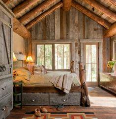 Rustic bedroom. I love the wooden/rustic look....and again....I looooooove the beams!