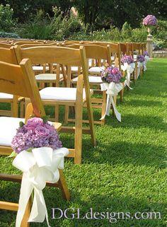 Atlanta Botanical Garden wedding ceremony bridal path aisle lined chair bouquets lavender hydrangea roses photo