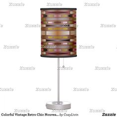Colorful Vintage Retro Chic Nouveau Deco Pattern Desk Lamp - Unique, classic, trendy, pretty and decorative design available on more than 40 stylish and classy decor products. Beautiful chic contemporary pastel pink, olive green, burned orange, dark burgudy red, white, taupe and mauve colored ethnic fantasy stripes pattern. #colorfulvintage #retro #desklamp #fantasystripes #ethnic AFFILIATE LINK