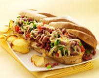 Pastrami Cheesesteak With Piquanté Peppers, Caramelized Onions And Fontiago
