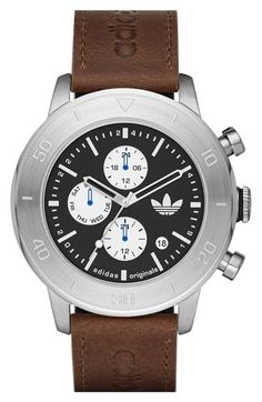 adidas 'Manchester' Chronograph Leather Strap Watch, 46mm