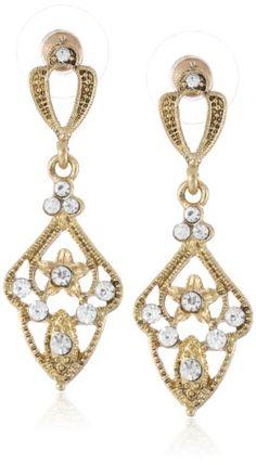 Downton Abbey Gold-Tone Crystal  Filigree Kite-Shaped Drop Earrings Downton Abbey http://www.amazon.co.uk/dp/B00EO2WVSO/ref=cm_sw_r_pi_dp_2qOSvb1SSX2YM
