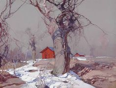Stepan Kolesnikoff (Russian, 1879-1955), Early spring. Gouache on prepared card, 49.2 x 64.4 cm.