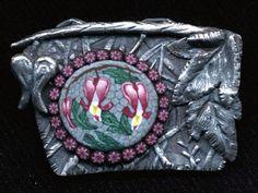 Barbara Sperling Bleeding Heart Polymer Clay and Precious Metal Clay Brooch