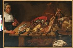 Cornelis Jacobsz. Delff, Keukenstuk, 1590-1643. (eigen collectie) #food #art #painting