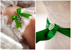 good luck charms on garter / white gown with green sash