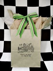 #WelcomeToSanAntonio! This downtown view of traditional San Antonio architecture includes The Alamo & Riverwalk. Printed in black ink on an oatmeal colored bag, this design is under-stated and organic looking. The khaki & vanilla #tissuepapers give dimension and definition. The multi-green #stripedribbon finishes the look. What a treat for your guests when they arrive at their hotel. No need for them to raid the hotel mini bar! www.FavorsYouKeep.com #weddingwelcomebag #SanAntonioWeddingIdeas