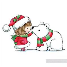 Shop for Penny Black Snow Kiss Rubber Stamp. Get free delivery On EVERYTHING* Overstock - Your Online Scrapbooking Shop! Christmas Drawing, Christmas Art, Christmas Holidays, Christmas Animals, Christmas Pictures, Gif Fete, Images Kawaii, Penny Black Karten, Theme Noel