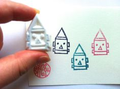 NEW! robot rubber stamp. hand carved rubber stamp. hand by talktothesun, $8.00